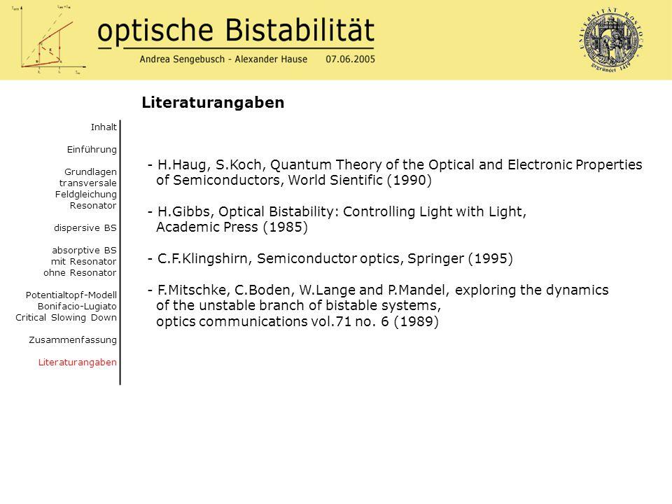 Literaturangaben Inhalt. Einführung. Grundlagen. transversale Feldgleichung Resonator. dispersive BS.