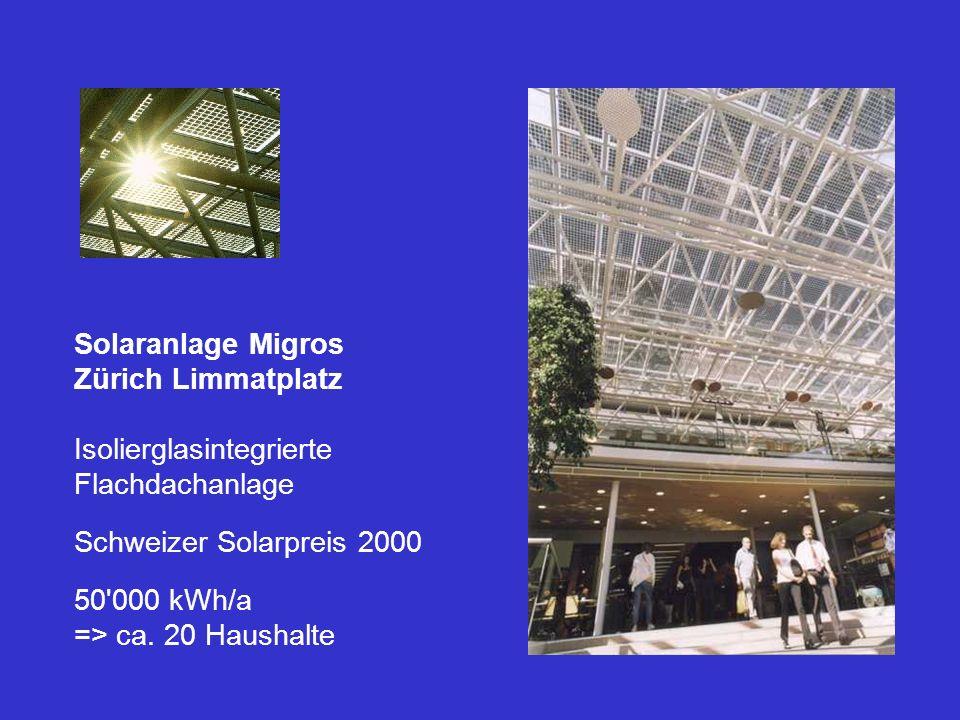 Solaranlage Migros Zürich Limmatplatz. Isolierglasintegrierte Flachdachanlage Schweizer Solarpreis 2000.
