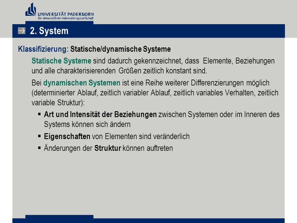 2. System Klassifizierung: Statische/dynamische Systeme
