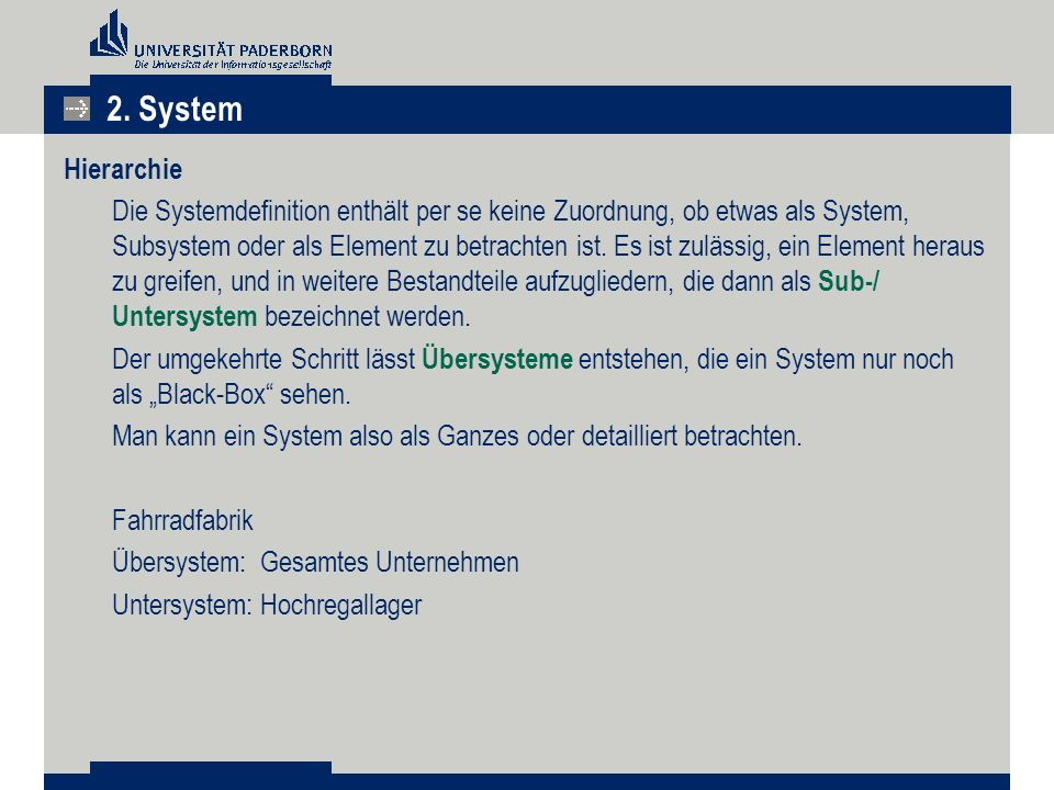 2. System Hierarchie.