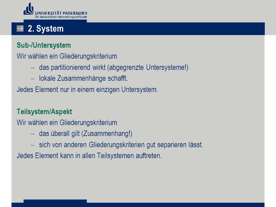 2. System Sub-/Untersystem Wir wählen ein Gliederungskriterium