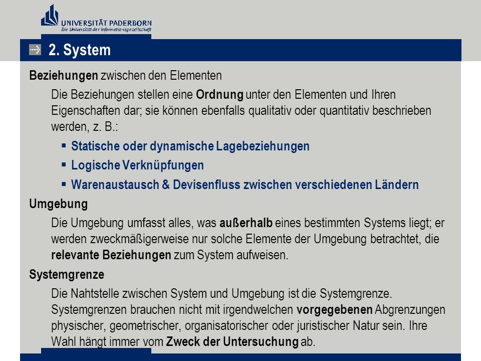 2. System Beziehungen zwischen den Elementen