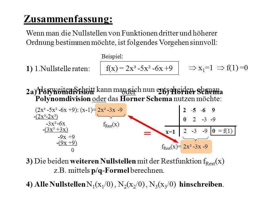 Zusammenfassung: Wenn man die Nullstellen von Funktionen dritter und höherer Ordnung bestimmen möchte, ist folgendes Vorgehen sinnvoll: