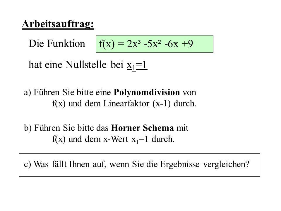 hat eine Nullstelle bei x1=1