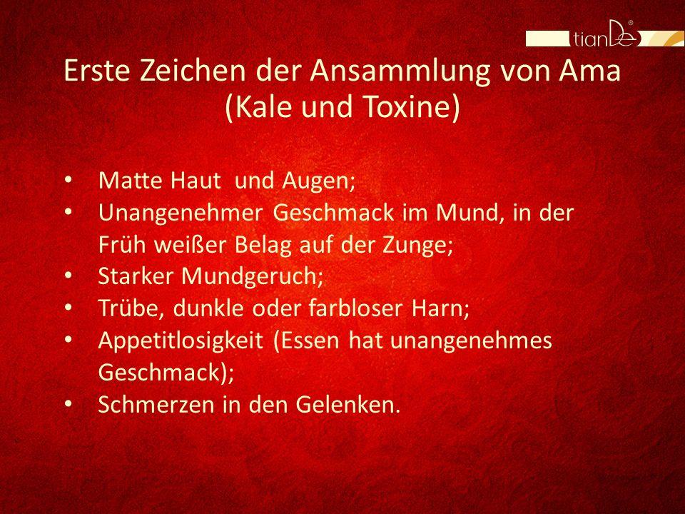 Erste Zeichen der Ansammlung von Ama (Kale und Toxine)