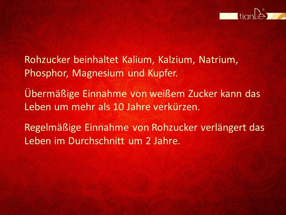 Rohzucker beinhaltet Kalium, Kalzium, Natrium, Phosphor, Magnesium und Kupfer.