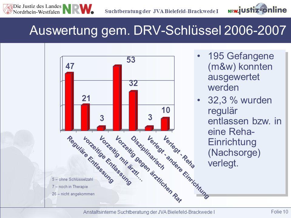 Auswertung gem. DRV-Schlüssel 2006-2007