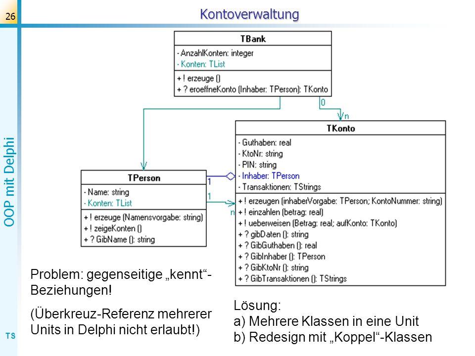 """Kontoverwaltung Problem: gegenseitige """"kennt -Beziehungen! (Überkreuz-Referenz mehrerer Units in Delphi nicht erlaubt!)"""