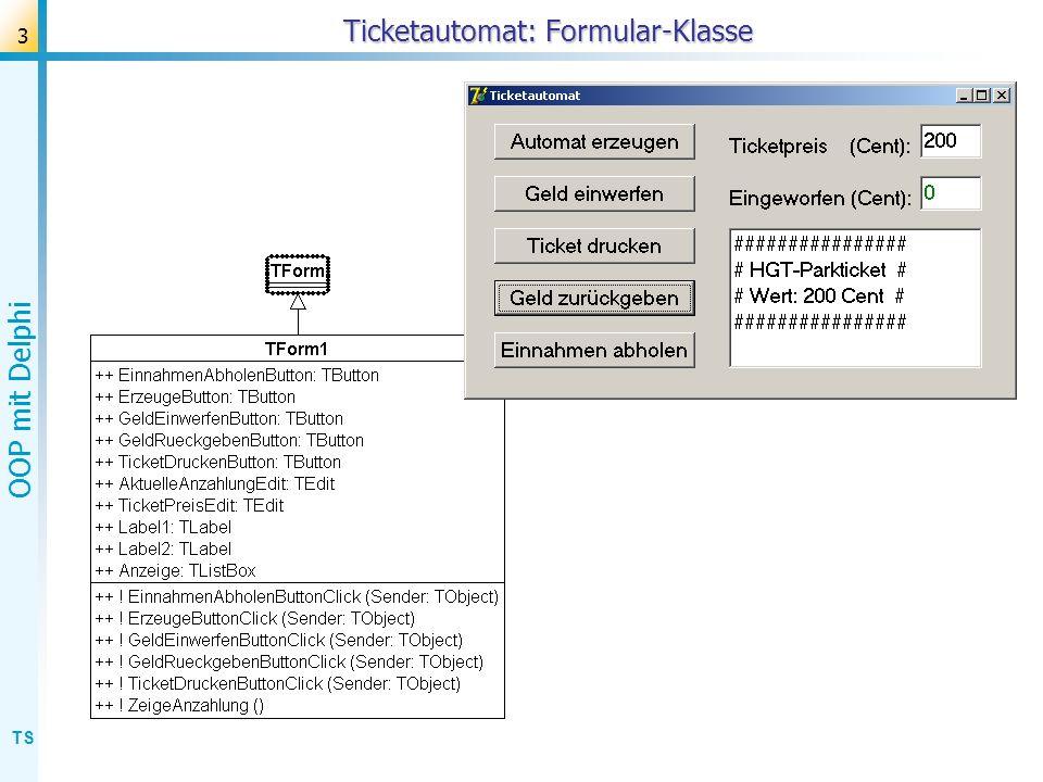 Ticketautomat: Formular-Klasse