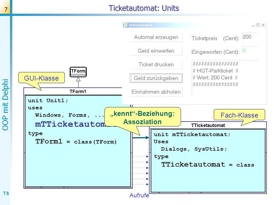 "Ticketautomat: Units GUI-Klasse ""kennt -Beziehung: Fach-Klasse"