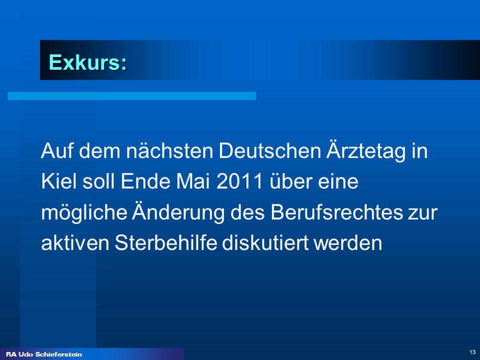 Exkurs:Auf dem nächsten Deutschen Ärztetag in. Kiel soll Ende Mai 2011 über eine. mögliche Änderung des Berufsrechtes zur.