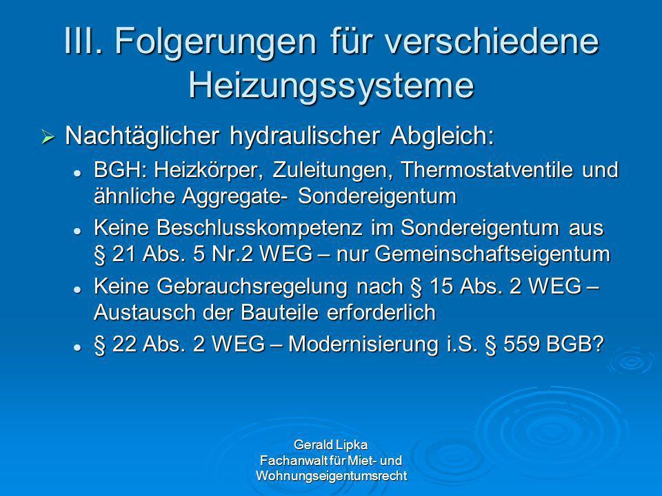 III. Folgerungen für verschiedene Heizungssysteme