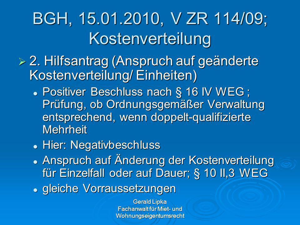 BGH, 15.01.2010, V ZR 114/09; Kostenverteilung