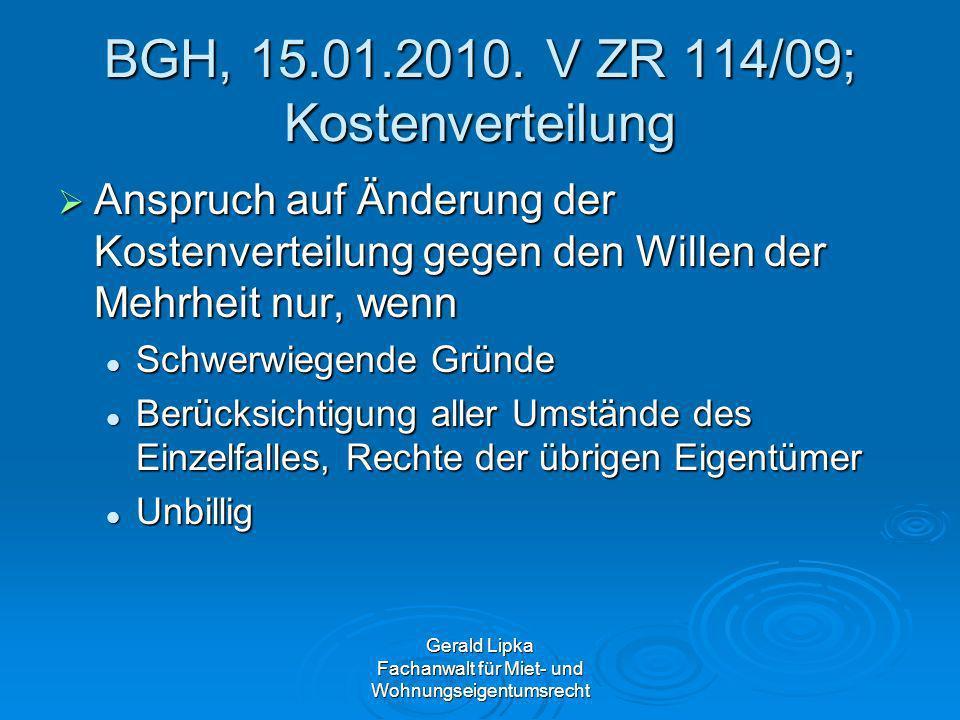 BGH, 15.01.2010. V ZR 114/09; Kostenverteilung
