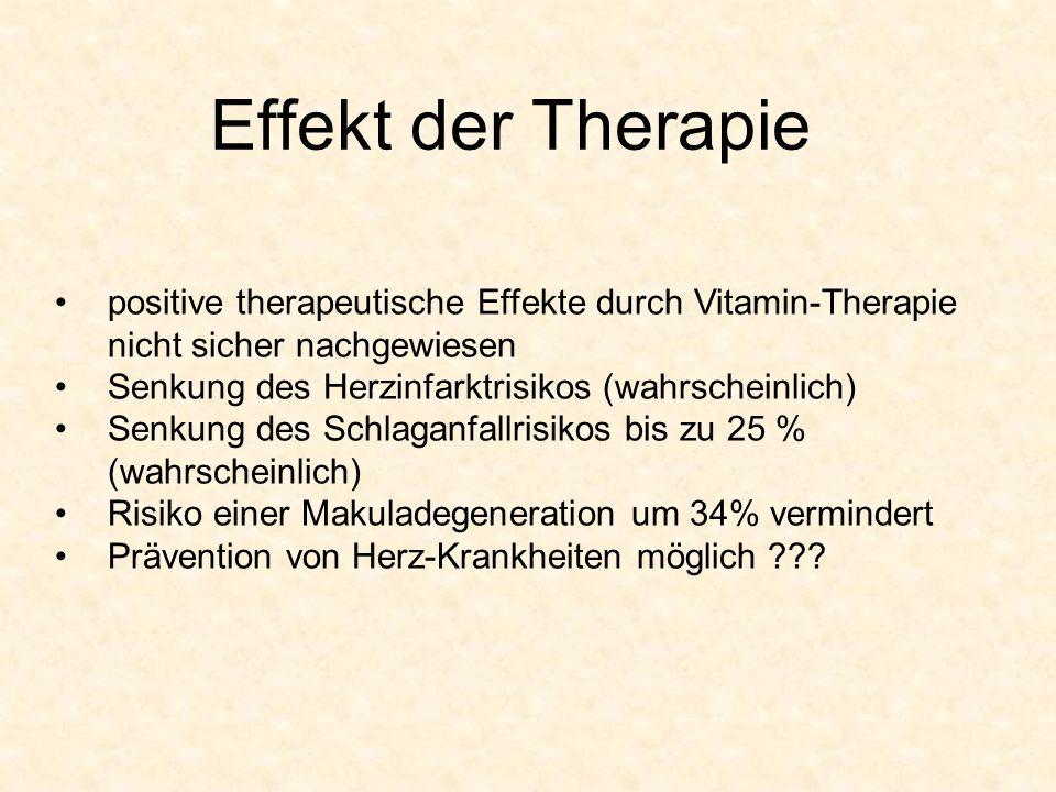 Effekt der Therapie positive therapeutische Effekte durch Vitamin-Therapie nicht sicher nachgewiesen.