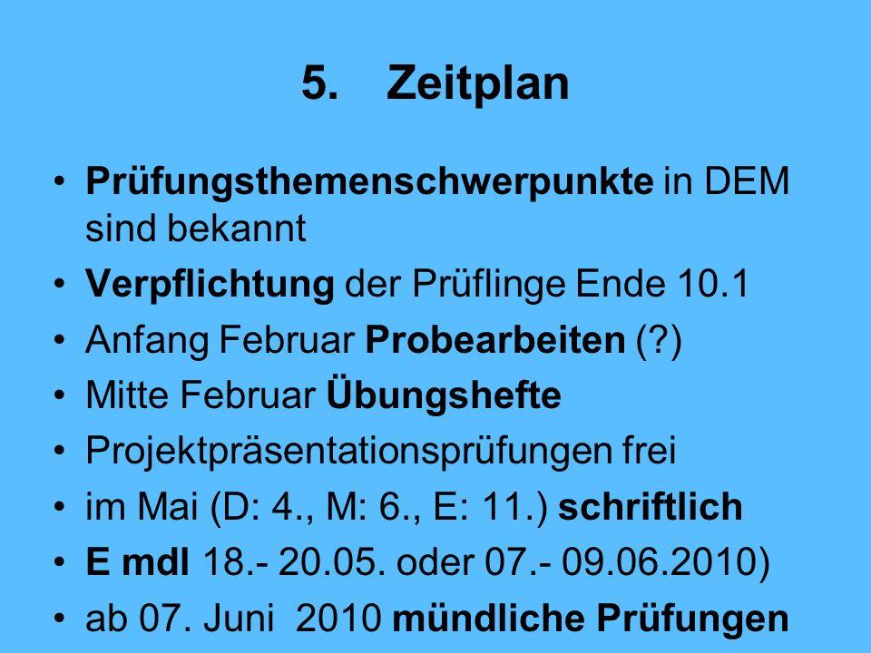 5. Zeitplan Prüfungsthemenschwerpunkte in DEM sind bekannt