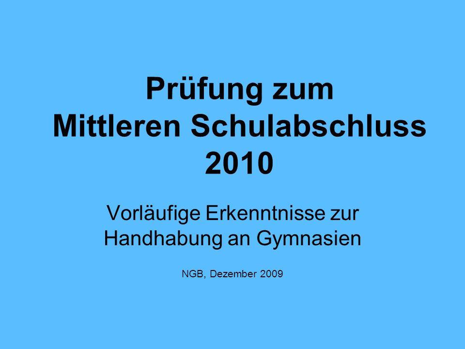 Prüfung zum Mittleren Schulabschluss 2010
