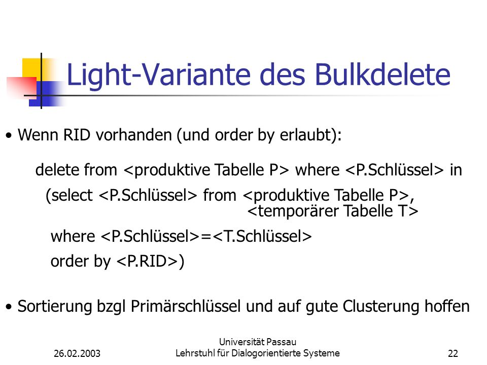 Light-Variante des Bulkdelete
