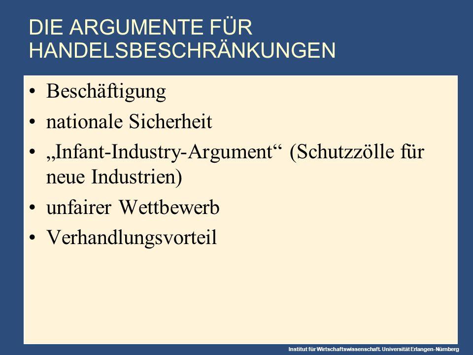 DIE ARGUMENTE FÜR HANDELSBESCHRÄNKUNGEN