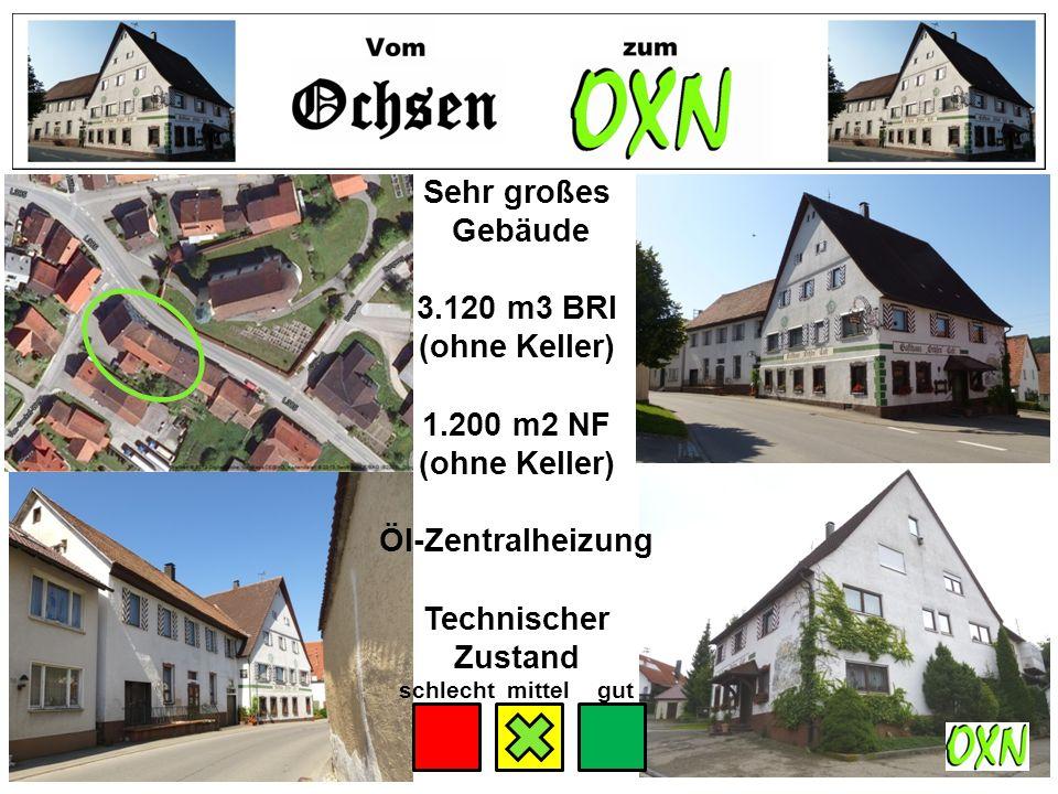 Sehr großes Gebäude 3.120 m3 BRI (ohne Keller) 1.200 m2 NF