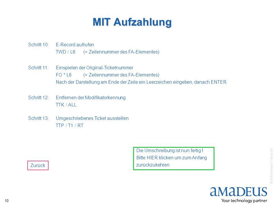 MIT Aufzahlung Schritt 10: E-Record aufrufen