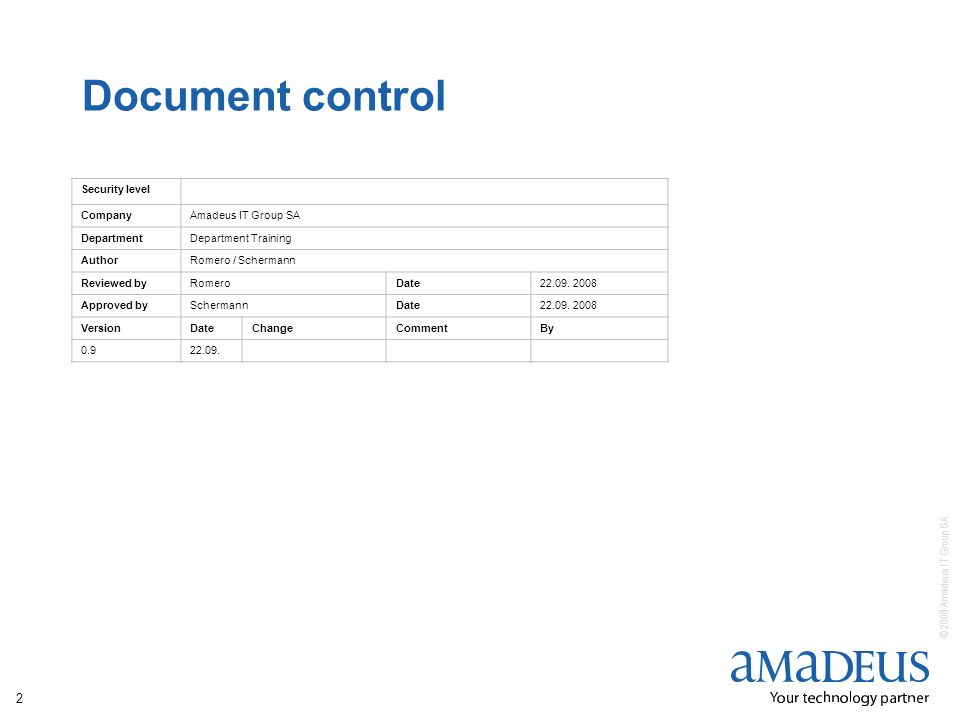 Document control Security level Company Amadeus IT Group SA Department