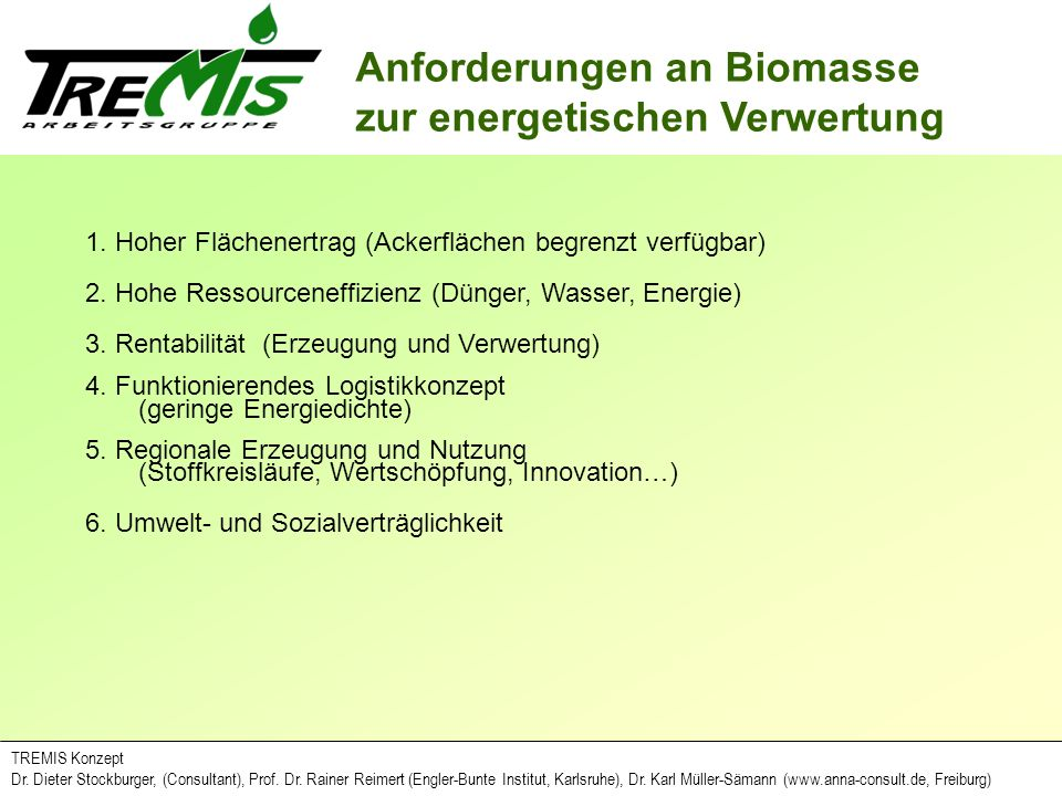 Anforderungen an Biomasse zur energetischen Verwertung