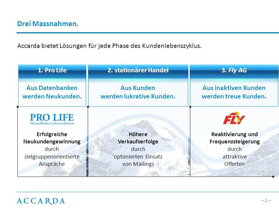 Drei Massnahmen. Accarda bietet Lösungen für jede Phase des Kundenlebenszyklus. 1. Pro Life. 2. stationärer Handel.