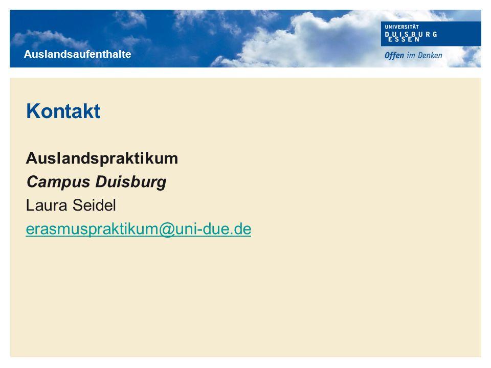 Kontakt Auslandspraktikum Campus Duisburg Laura Seidel