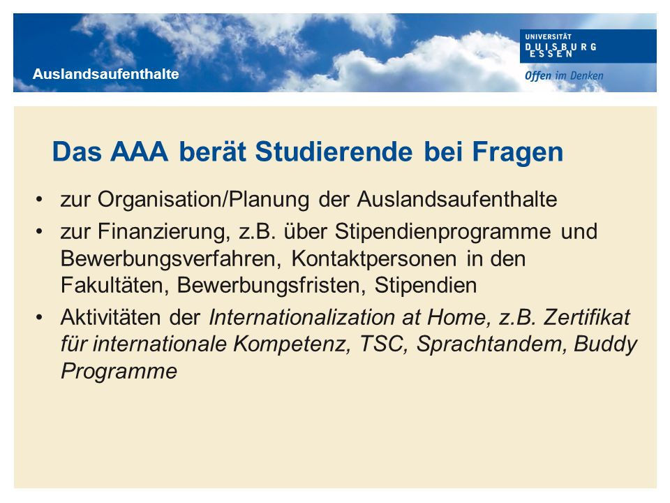 Das AAA berät Studierende bei Fragen