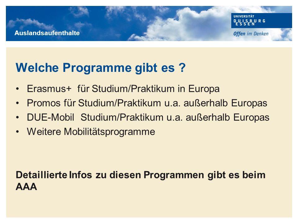 Welche Programme gibt es