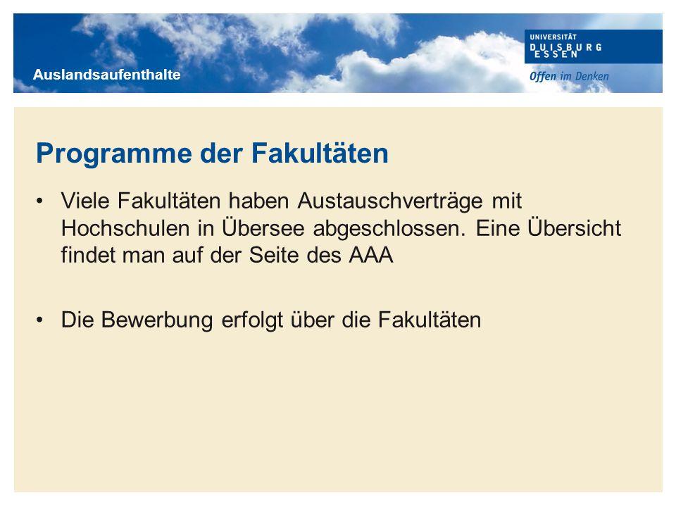 Programme der Fakultäten