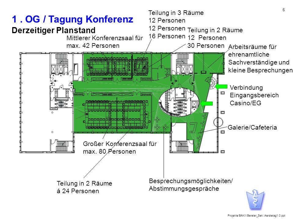 1 . OG / Tagung Konferenz Derzeitiger Planstand Teilung in 3 Räume