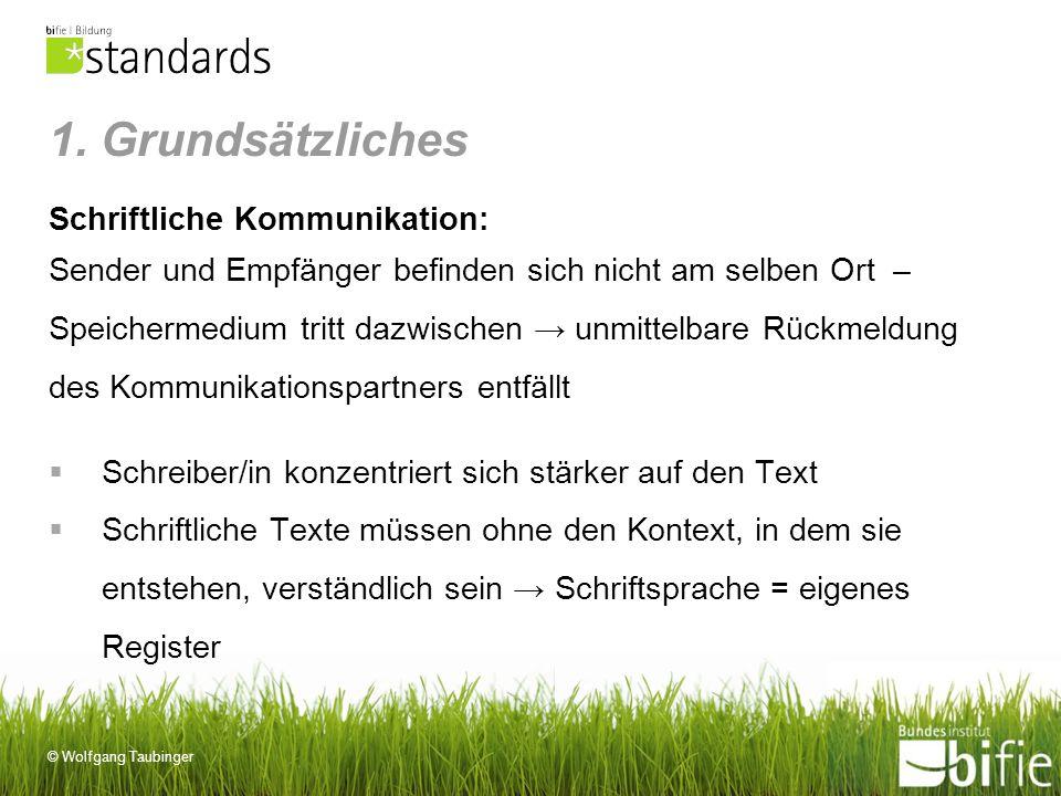 1. Grundsätzliches Schriftliche Kommunikation: