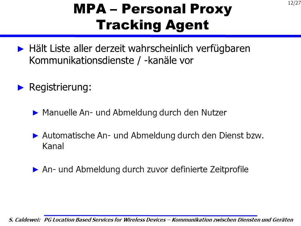 MPA – Personal Proxy Tracking Agent