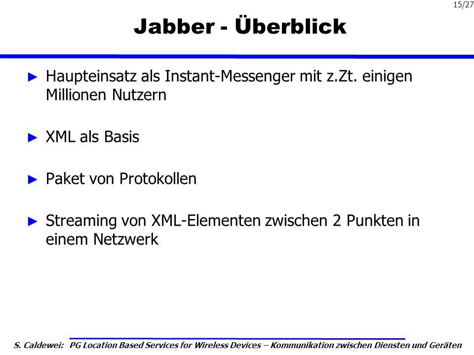 Jabber - Überblick Haupteinsatz als Instant-Messenger mit z.Zt. einigen Millionen Nutzern. XML als Basis.