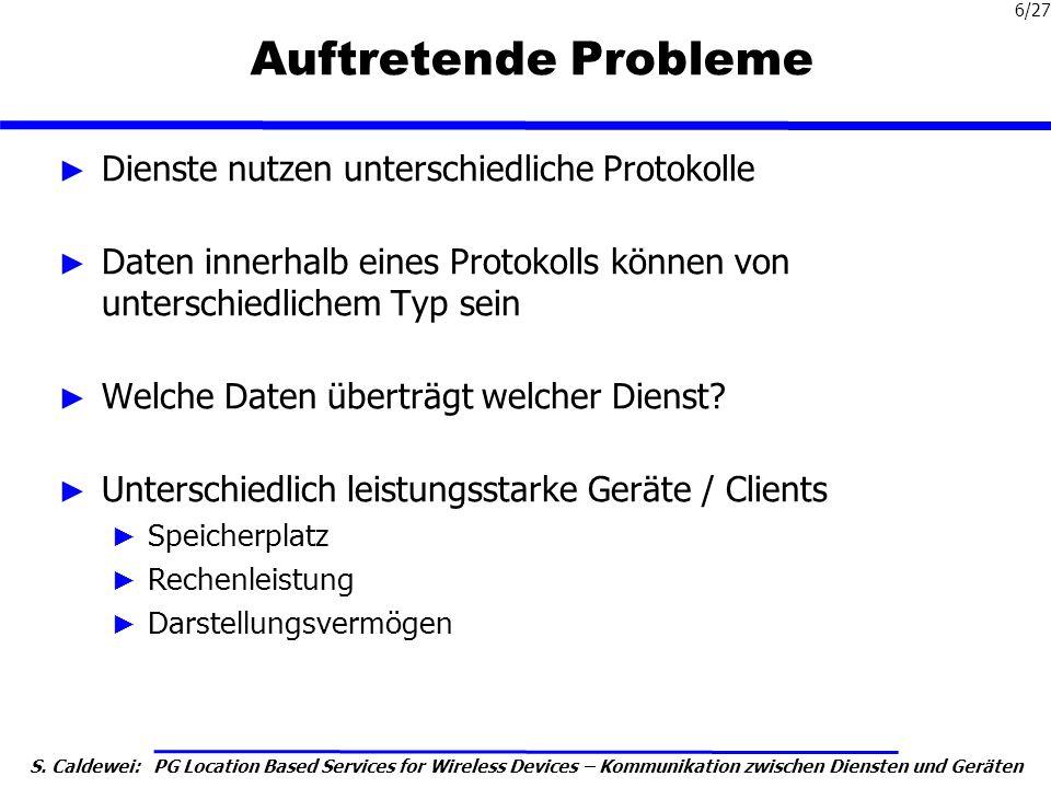 Auftretende Probleme Dienste nutzen unterschiedliche Protokolle