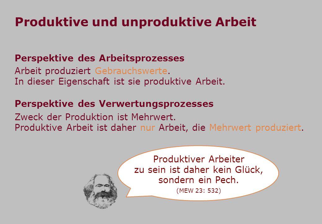 Produktiver Arbeiter zu sein ist daher kein Glück, sondern ein Pech.