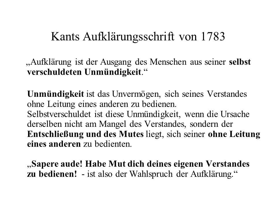 Kants Aufklärungsschrift von 1783