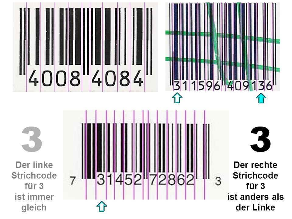 3 3 Der linke Strichcode für 3 ist immer gleich