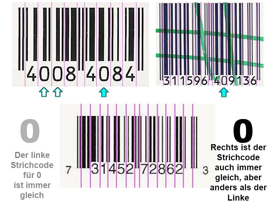 Rechts ist der Strichcode auch immer gleich, aber anders als der Linke