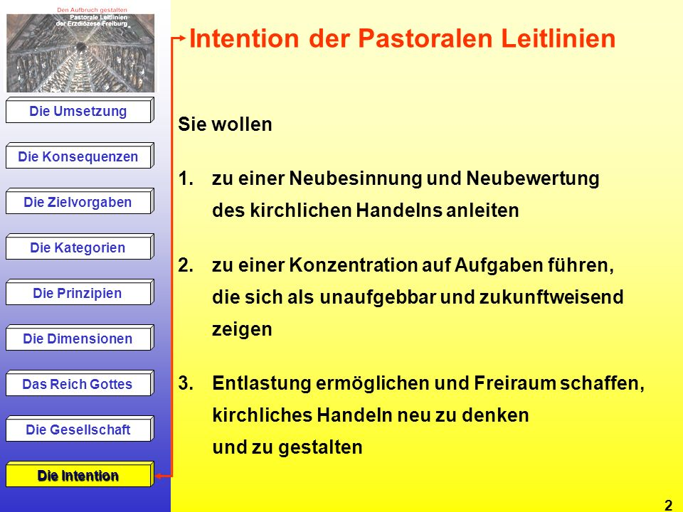 Intention der Pastoralen Leitlinien