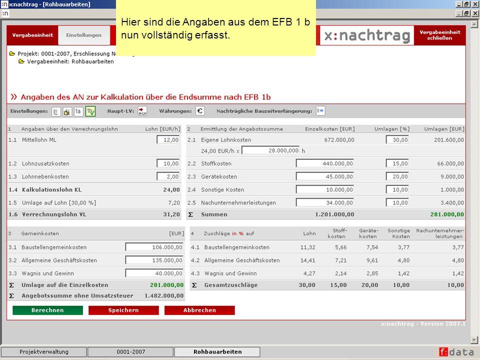 Hier sind die Angaben aus dem EFB 1 b