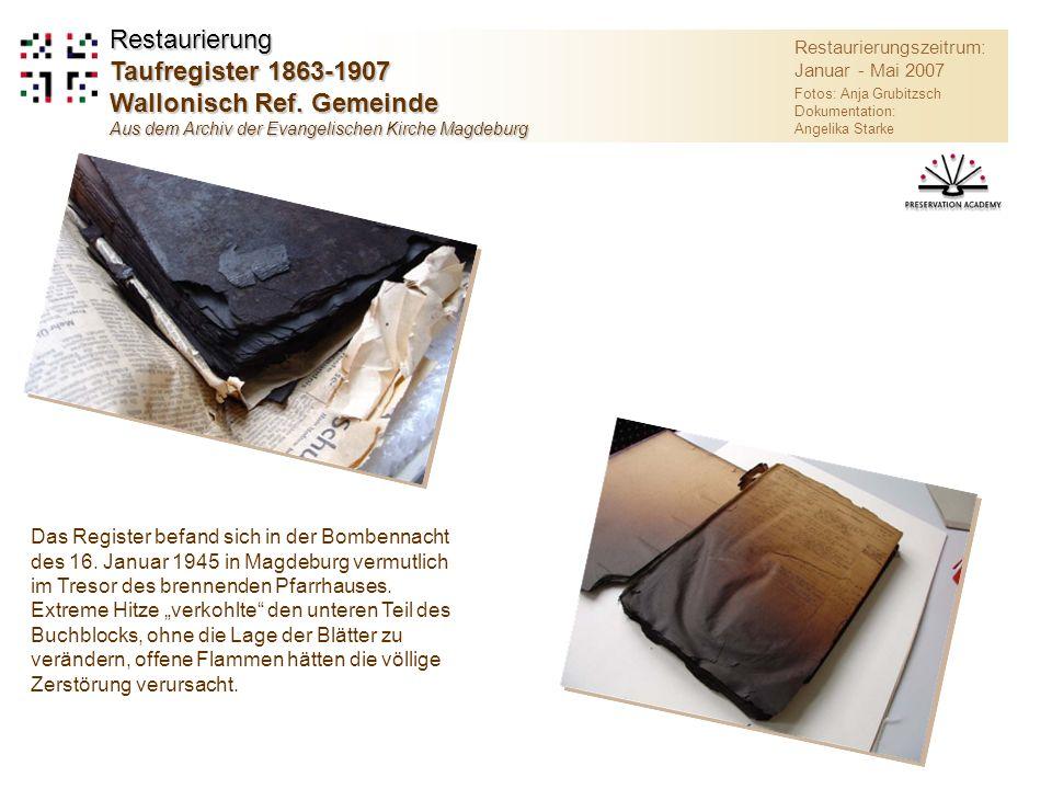 Restaurierung Taufregister 1863-1907 Wallonisch Ref. Gemeinde