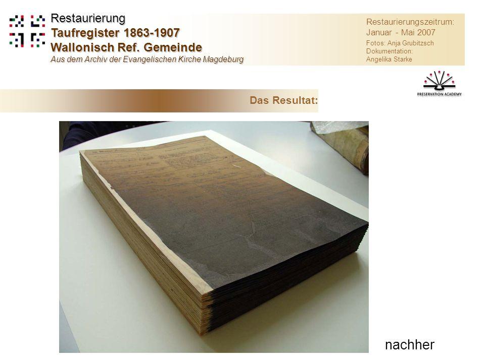 nachher Restaurierung Taufregister 1863-1907 Wallonisch Ref. Gemeinde