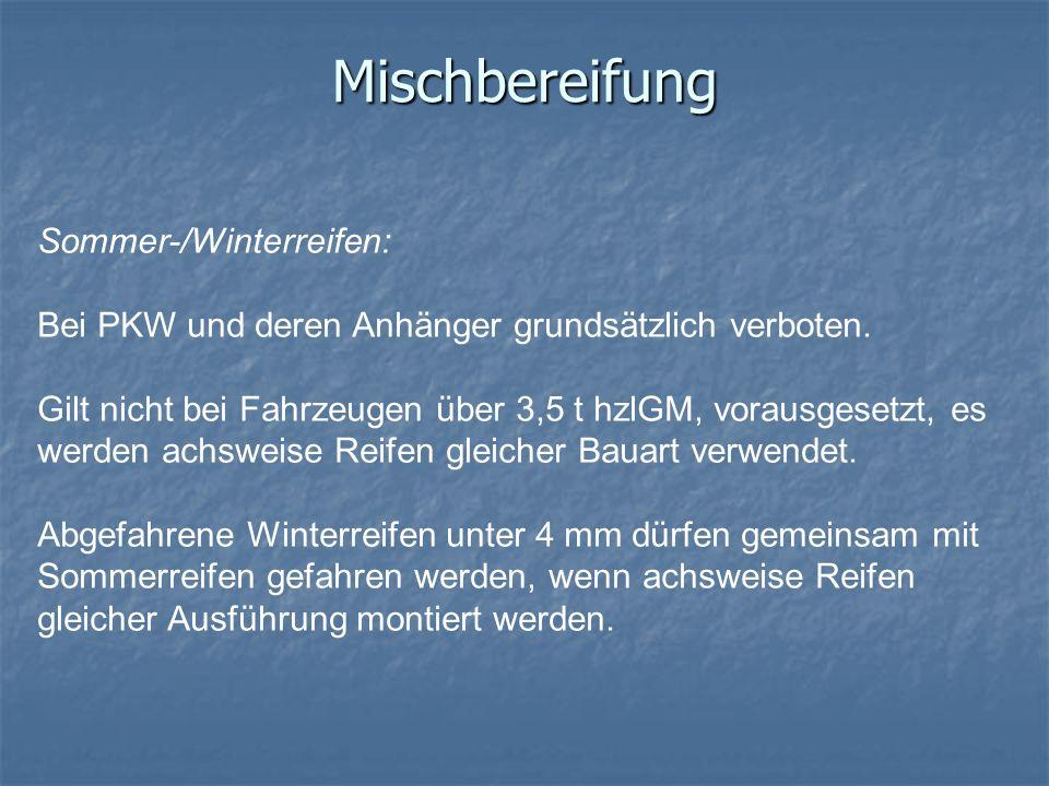 Mischbereifung Sommer-/Winterreifen: