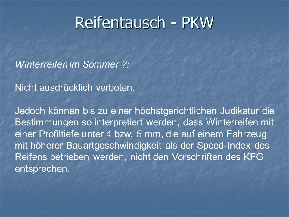 Reifentausch - PKW Winterreifen im Sommer :