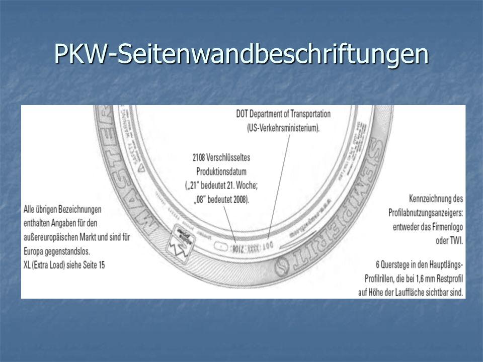 PKW-Seitenwandbeschriftungen