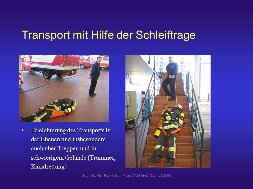 Transport mit Hilfe der Schleiftrage