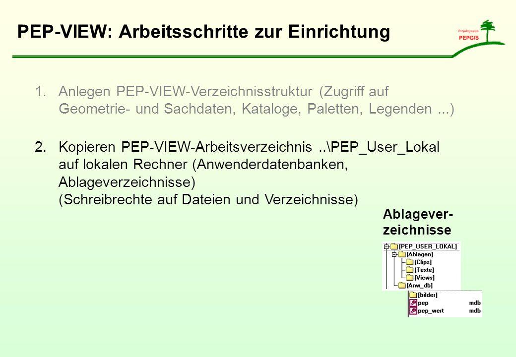PEP-VIEW: Arbeitsschritte zur Einrichtung